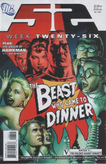 52 26 - Captain Marvel - Origin Of Hawkman - Joe Bennett - Beast Who Came To Dinner - V For Violence Against Humanity - Alex Sinclair, J Jones