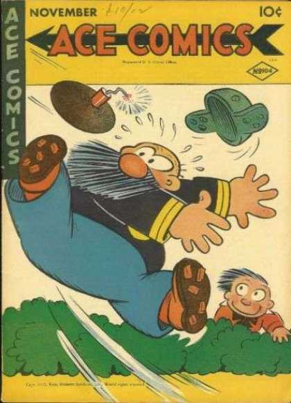 Ace Comics 104 - Bomb - Hat Flying - Boy Watching - General Throwing - Trees
