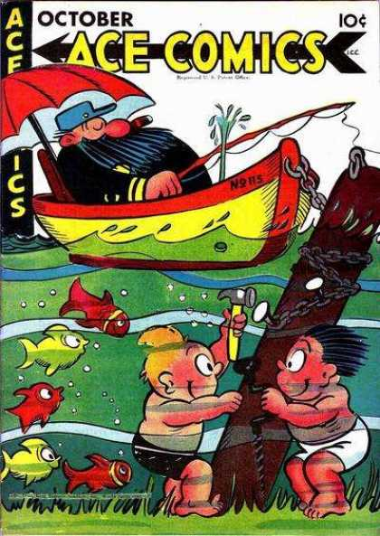 Ace Comics 115 - Kids And Their Fun - Damn Kids - A Day On The Lake - Fishing - Stranded
