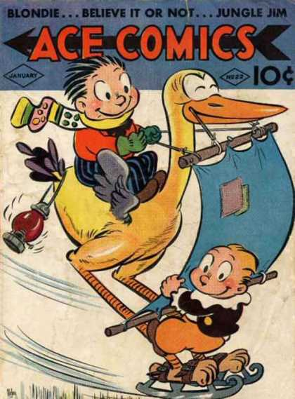 Ace Comics 22 - Duck - Blondie - Jungle Jim - Believe It Or Not - January