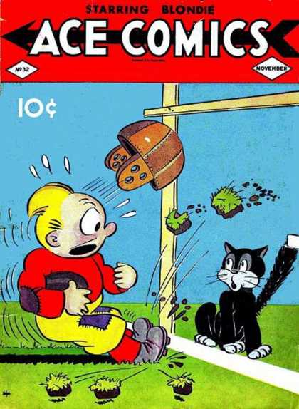 Ace Comics 30 - Blondie - Football - Cat - Helmet - Goal Post