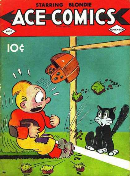Ace Comics 32 - Football - Goal Post - Helmet - Cat - Grass