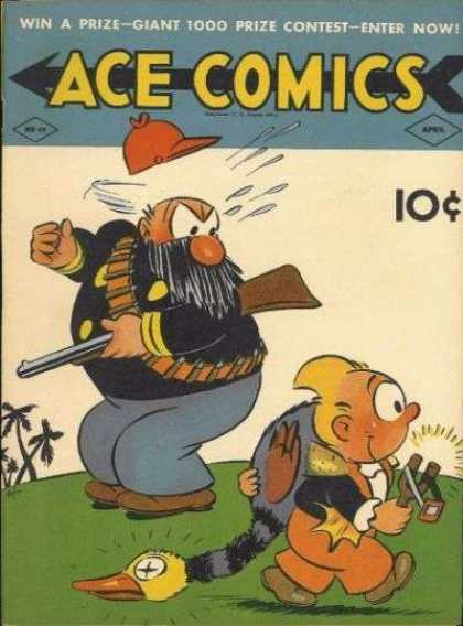 Ace Comics 49 - Gun - Palm Trees - Slingshot - Bird - Beard