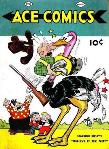 Ace Comics 5 - Ace Comics - Believe It Or Not - Ostrich - Hat - Rifle