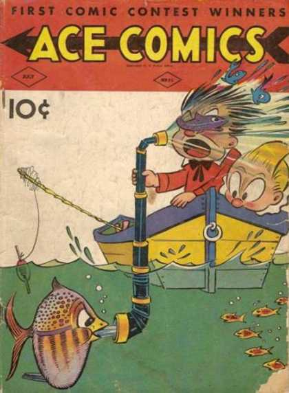 Ace Comics 52 - July Issue - Fish Getting His Revenge - 2 Boys Fishing - Telescope - Fish Out Of Water