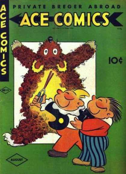 Ace Comics 77 - Private Breger Abroad - 2 Boys - Curly Fur - Rug - Striped Pants