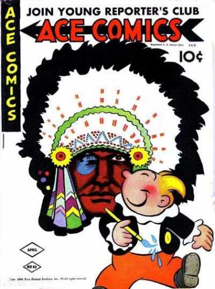 Ace Comics 85 - Indian Face - Young Reporters Club - Feather Headdress - Red Face - Blonde Hair