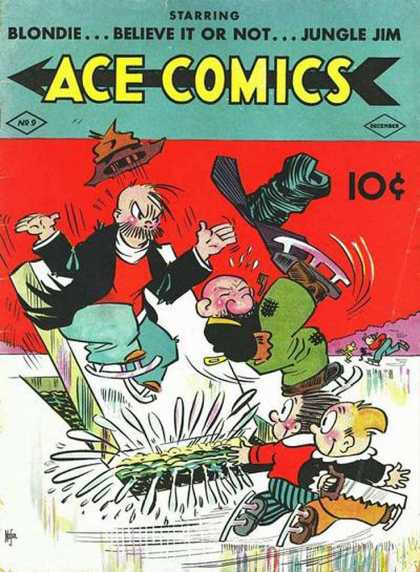 Ace Comics 9 - Blondie - Blieve It Or Not - Jungle Jim - Ice Skating - Slip