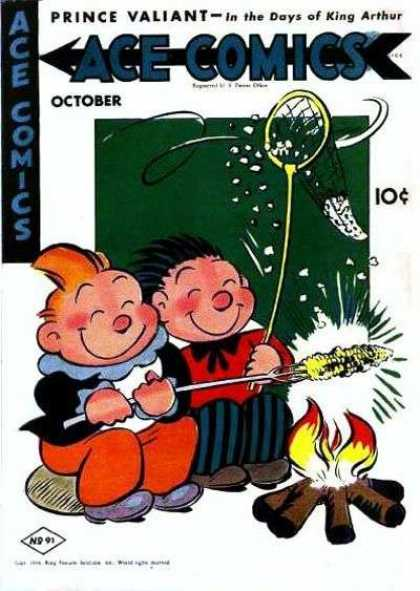 Ace Comics 91 - Two Boys - Sitting By Campfire - Roasting An Ear Of Corn - Catching Popcorn In A Net - Smiling
