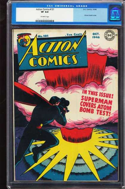 Action Comics 101 - Superman - Atom Bomb - Explosion - Camera - Mushroom Cloud