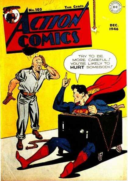 Action Comics 103 - Superman - Safe - Trouble - Standing - Man