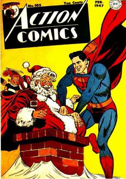 Action Comics 105 - Superman - Santa - Santa Claus - Ten Cents - Feb 1947