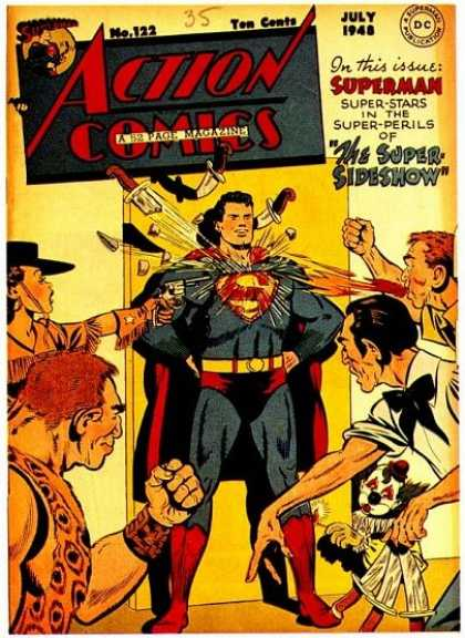 Action Comics 122 - Knives - Clown - Knife - Superman - Cowgirl - George Roussos