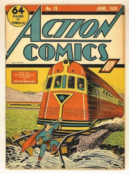 Action Comics 13 - Train - Superman - Water - Stop - Tracks - Joe Shuster