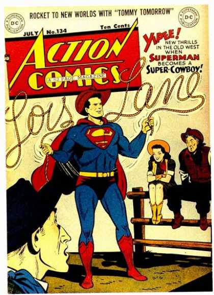 Action Comics 134 - Superman - Lois Lane - Lasso - Cowboy - Fence