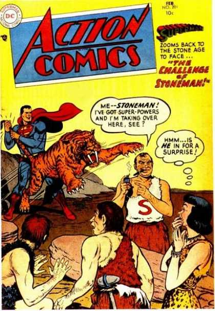 Action Comics 201 - Superman - Stoneman - Tiger - Cigar - Caveman