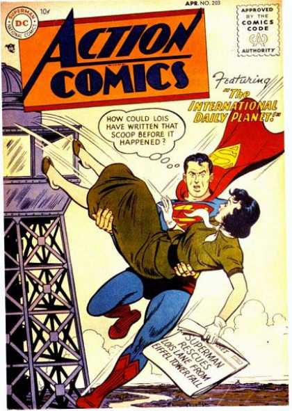 Action Comics 203 - Newspaper - Superman - Tower - Eiffel Tower - Daily Planet