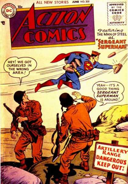 Action Comics 205 - Superman - Guns - Soldiers - Bombs - Army