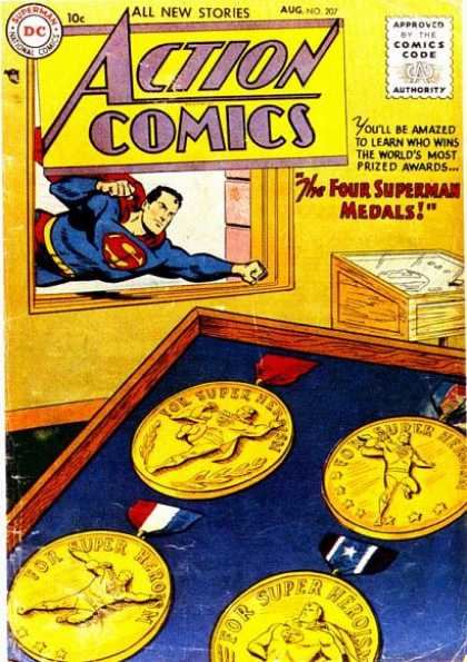 Action Comics 207 - Superman - Medals - Window - Flying - Gold