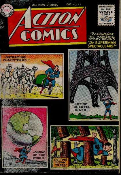 Action Comics 211 - World - Trees - Superman - Horses - Eiffel Tower