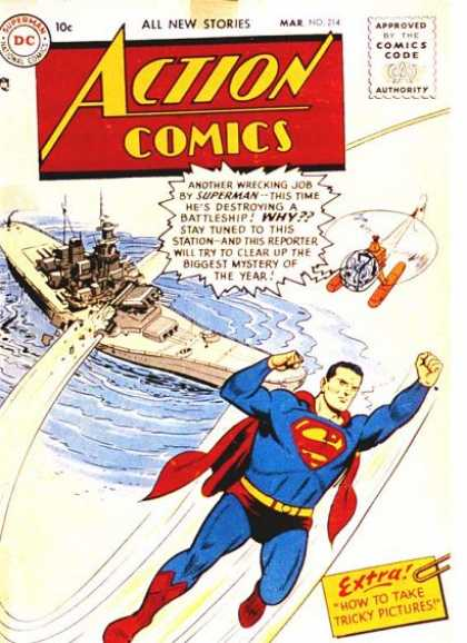 Action Comics 214 - Battleship - Superman - National Comics - Approved By The Comics Code Authority - How To Take Tricky Pictures