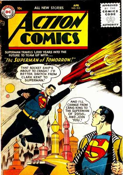 Action Comics 215 - Superman - Rocket - Rocket Ship - Black