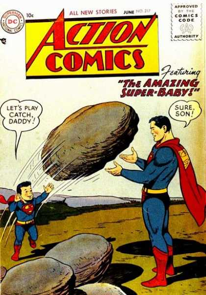 Action Comics 217 - Superman - Superboy - Superbaby - Rock - Super-baby