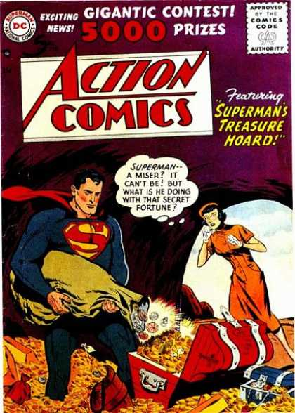Action Comics 219 - Superman - Fortune - Treasure - Treasure Hoard - Money