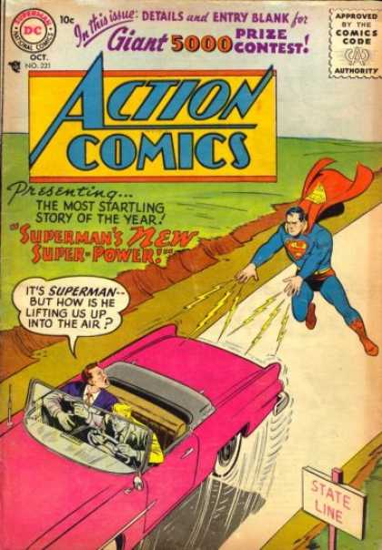 Action Comics 221 - Superman - Car - Convertible - Action Comics - Vintage