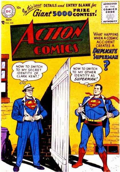 Action Comics 222 - Clark Kent - Superman - Dc - Dc Comics - Two Superman