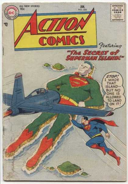 Action Comics 224 - Island - Plane - Superman - Superman Island - Dc Comics