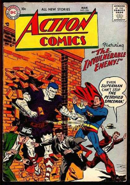 Action Comics 226 - Superman - Enemy - Wall - Petrified Spaceman - The Invulnerable Enemy
