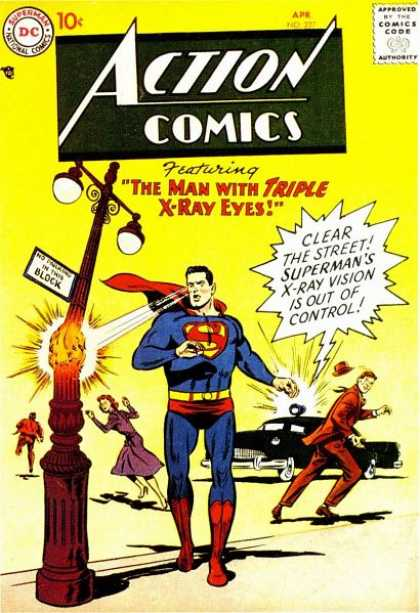 Action Comics 227 - Superman - X-ray Eyes - Action Comics - Street Lamp - Out Of Control