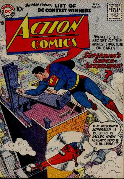 Action Comics 228 - Helicopter - Superman - Skyscraper