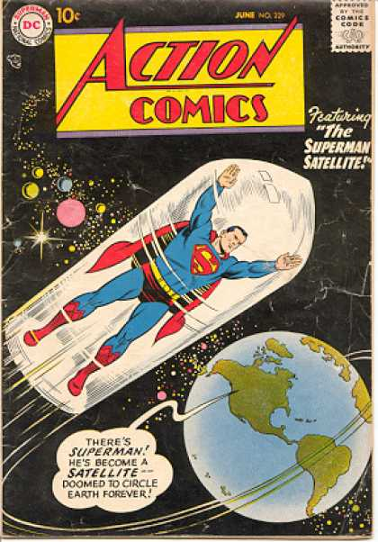 Action Comics 229 - Superman - Satellite - Earth - Outer Space - Capsule