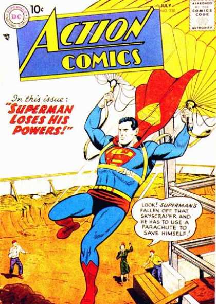 Action Comics 230 - Parachute - Superman - Super Man - Skyscraper - Loses His Powers