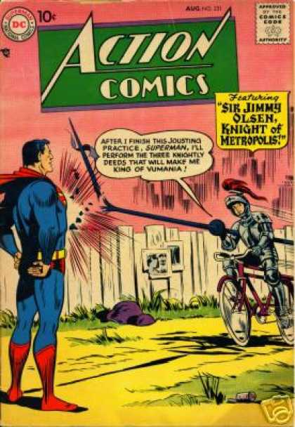 Action Comics 231 - Knight - Bicycle - Lance - Joust - Chest Of Iron