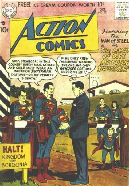 Action Comics 233 - Superman - Clark Kent - Borgonia - The Land Of One Million Supermen - Kingdom Of Borgonia - Curt Swan