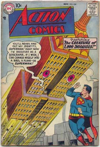 Action Comics 234 - Superman - Living Skyscraper - Creature Of Disguise - Stupid Disguise - Shiftshaper - Curt Swan