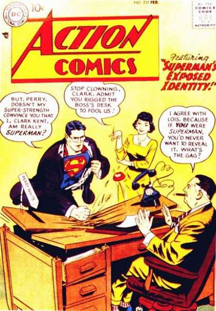 Action Comics 237 - Perry White - Telephone - Superman - Lois Lane - Suclark Kent - Curt Swan