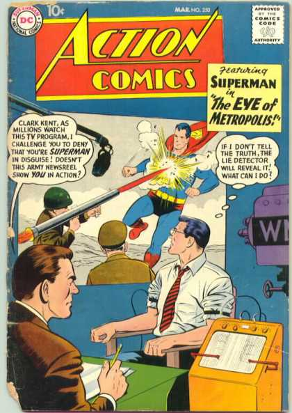 Action Comics 250 - Clark Kent - Lie Detector - Superman - Newscaster - Bazooka - Curt Swan