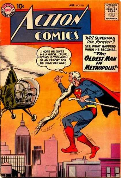 Action Comics 251 - Superman - Helicopter - Beard - Old - Cane - Curt Swan