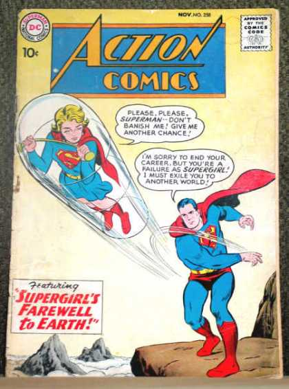 Action Comics 258 - Superman - Supergirl - Clear Capsule - Supergirls Farewell To Earth - Cliff - Curt Swan