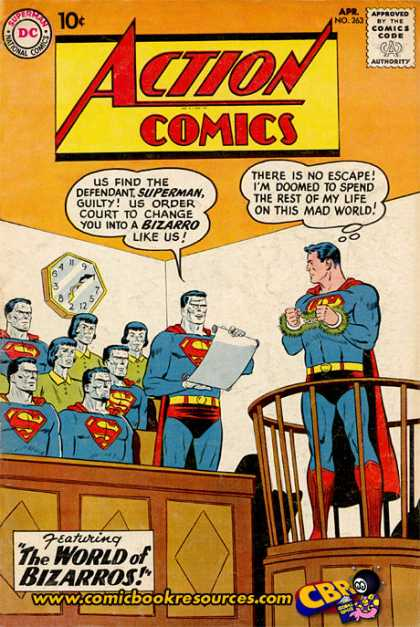 Action Comics 263 - Superman - Bizarro - Clock - Trial - Court - Curt Swan