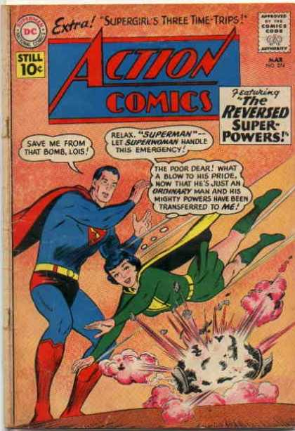 Action Comics 274 - Superman - Lois - Supergirls Three Time Trips - Super-powers - Emergency - Curt Swan