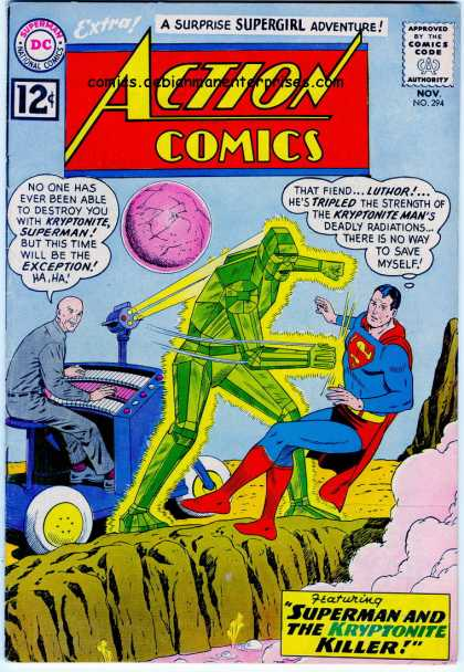 Action Comics 294 - Superman - Kryptonite - Blue - Green - Lex Luthor - Curt Swan