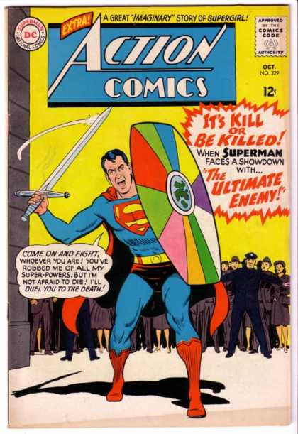 Action Comics 329 - Superman - Sword - Shield - Police - Dc Comics - Curt Swan