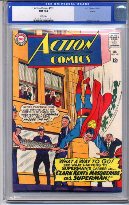 Action Comics 331 - Superman - Fire Hydrant - Net - Policemen - Falling - Curt Swan