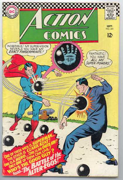 Action Comics 341 - Superman - Cannon Ball - Double - Clark Kent - Throwing - Curt Swan
