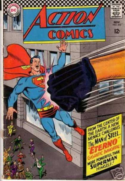 Action Comics 343 - Superman - Punch - Eterno - Fist - Glove - Curt Swan